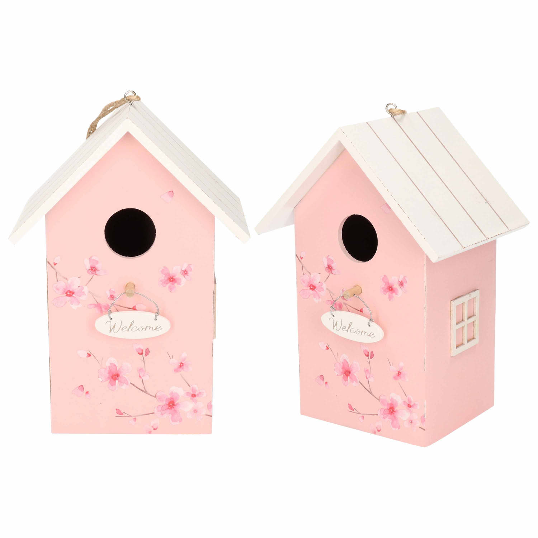 Merkloos 2x Nestkast/vogelhuisje Hout Roze Met Wit Dak 15 X 12 X 22 Cm online kopen