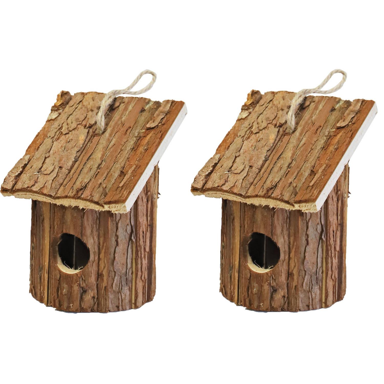 Merkloos 2x Nestkast/vogelhuisje Hout Rond Naturel Bruin 10 X 11 X 16 Cm Vogelhuisjes online kopen