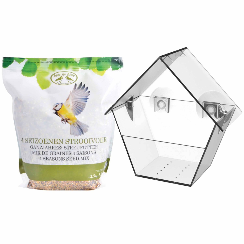 Best For Birds Vogel Raam Voedersilo Transparant 15 Cm Met 2,5 Kilo Vogelvoer Vogelvoederhuisjes online kopen