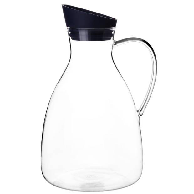 Viva karaf Infusion 2,4 liter glas transparant/zwart