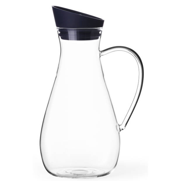 Viva karaf Infusion 1,5 liter glas transparant/donkerblauw