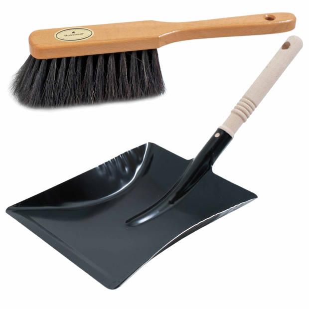 Luxe stoffer en blik bruin/zwart van metaal voor binnen - Zachte stoffers