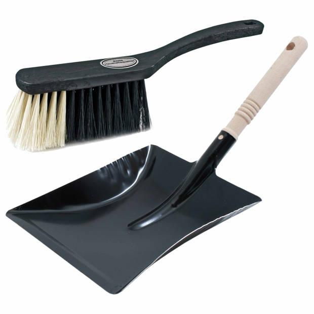 Luxe stoffer en blik grijs/zwart van metaal voor binnen - Zachte stoffers