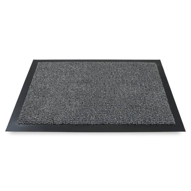 PVC deurmatten/schoonloopmatten antraciet 40 x 60 cm rechthoekig - vuilwerende inloopmat/inloopmatten