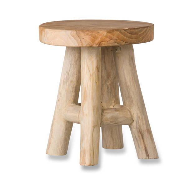 Blokker plantenkrukje - teak hout - 15x17,5 cm