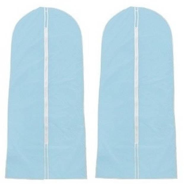 2x Beschermhoezen voor kleding lichtblauw 137 x 60 cm - Kledinghoezen - Garderobe kleding opbergen accessoires
