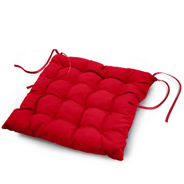 Wicotex Stoelkussen-zitkussen Essentiel rood 40x40x7cm