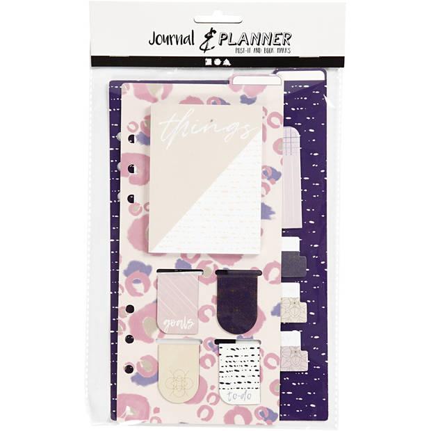 Creotime post-it en boekenlegger set paars/crème