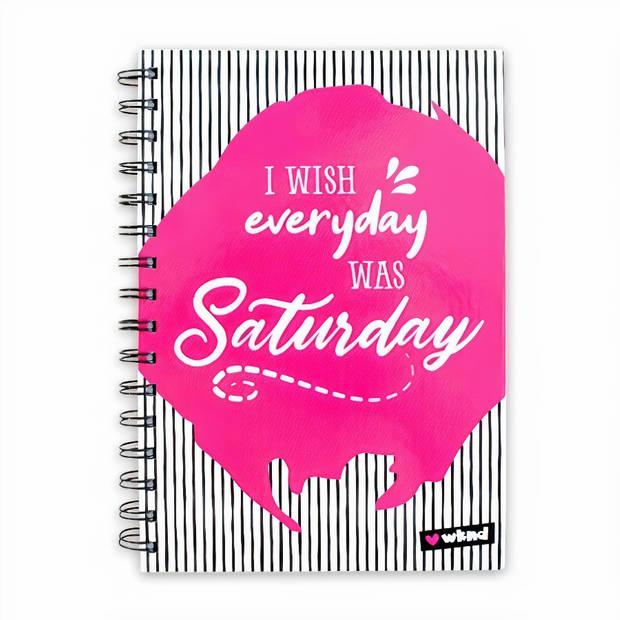 Verhaak spiraalschrift Saturday everyday A5 papier roze/wit/zwart
