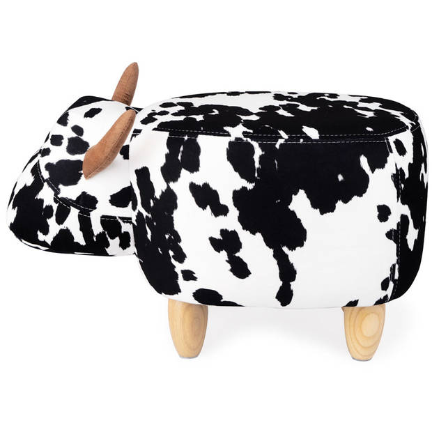 Balvi kruk Koe 59 x 36 cm leer/hout zwart/wit