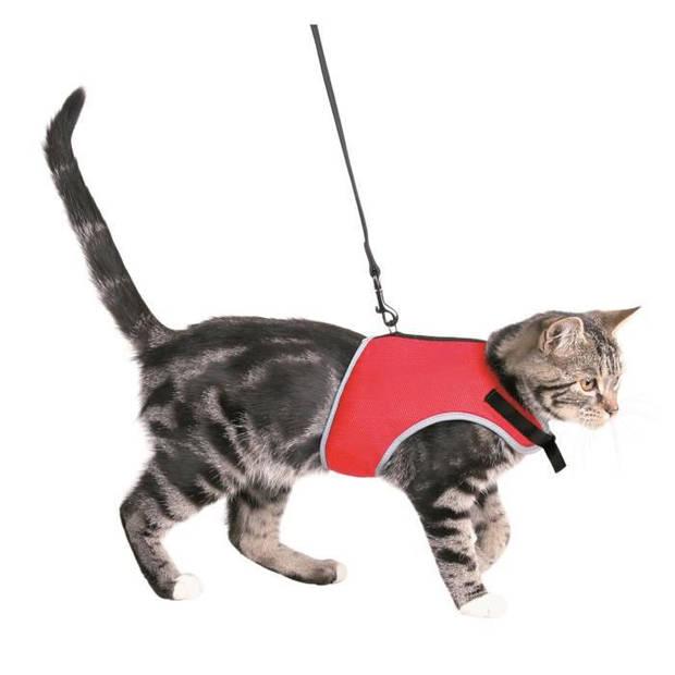 TRIXIE Zacht harnas met riem - rood en zwart - voor cat