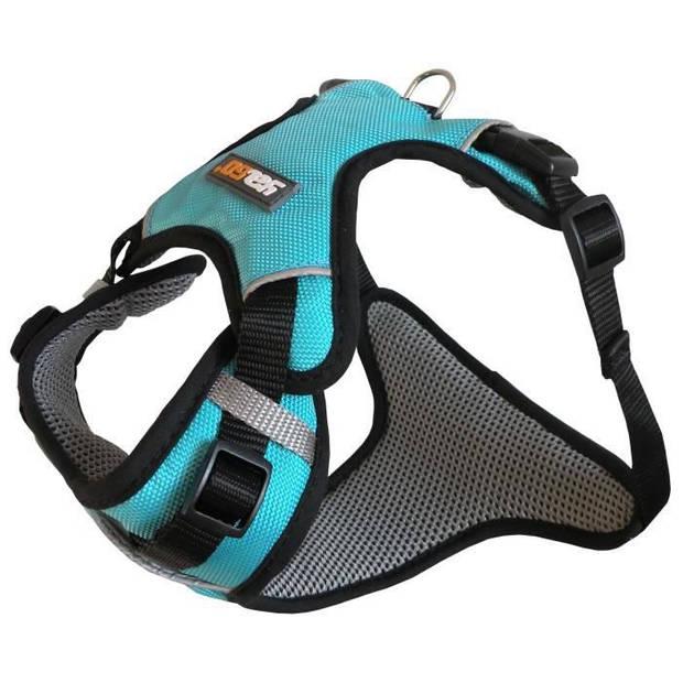 YAGO sportharnas voor kleine hond, kleur blauw, verstelbare maat S 58-70 cm, waterdichte waterdichte stof