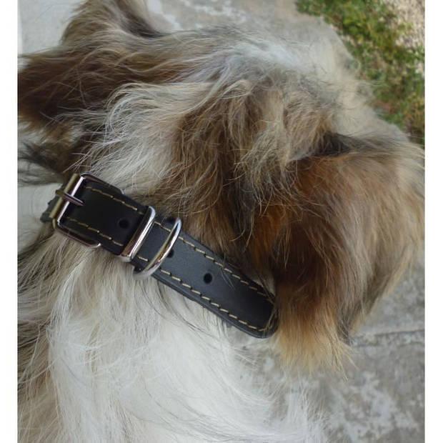 YAGO Zachte en verstelbare lederen halsband voor middelgrote hond, maat M 34-40cm, kleur zwart