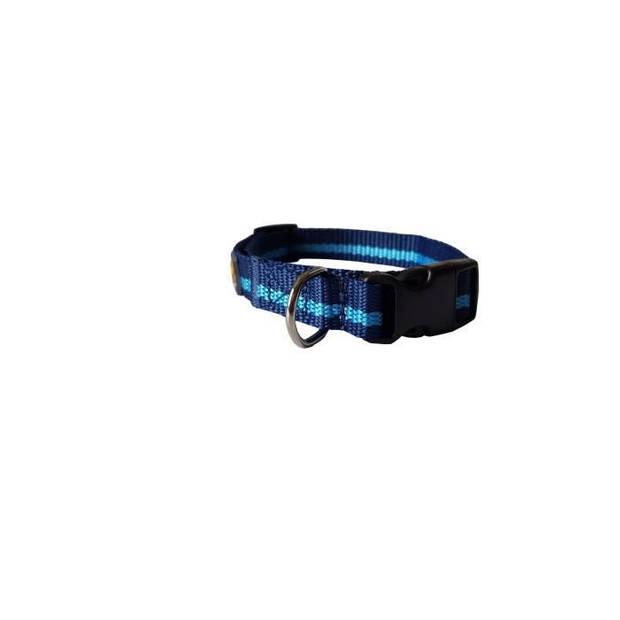 YAGO Nylon halsband, kleur Blauw / hemelsblauw, middelgrote hond, maat M 34-53 cm