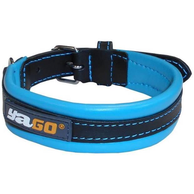 YAGO Leren halsband zwart en blauw Zacht en verstelbaar voor middelgrote hond, maat M 34-43 cm