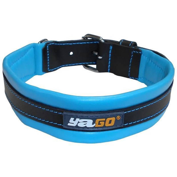 YAGO lederen halsband zwart en blauw Zacht en verstelbaar voor grote hond, maat L 43-52 cm