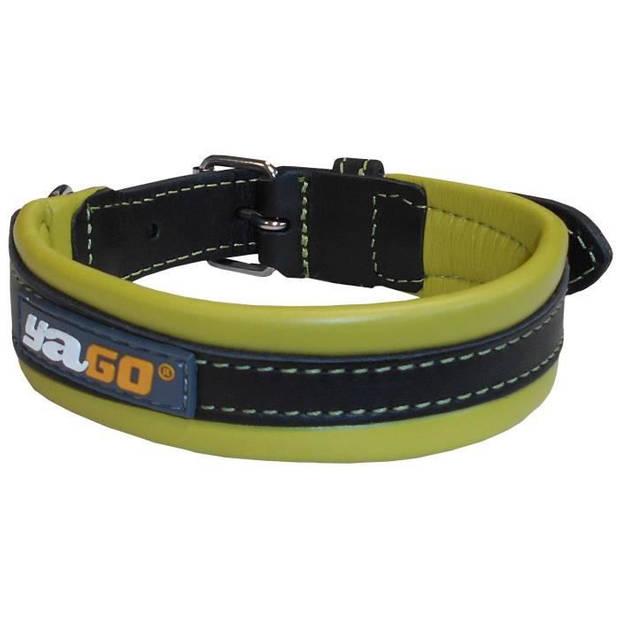 YAGO ketting zwart leer en groen Zacht en verstelbaar voor middelgrote hond, maat M 34-43 cm