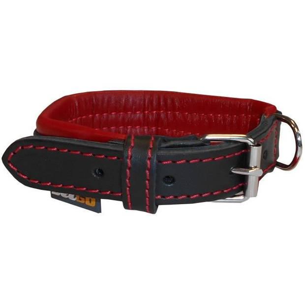 YAGO Zwart en rood lederen halsband Zacht en verstelbaar voor kleine honden, maat S 27-35 cm