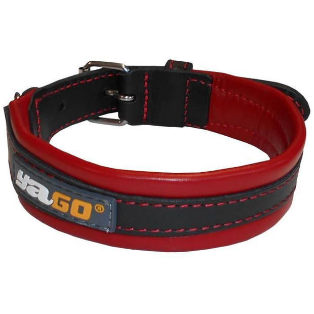 YAGO Zwart en rood lederen halsband Zacht en verstelbaar voor middelgrote hond, maat M 34-43 cm