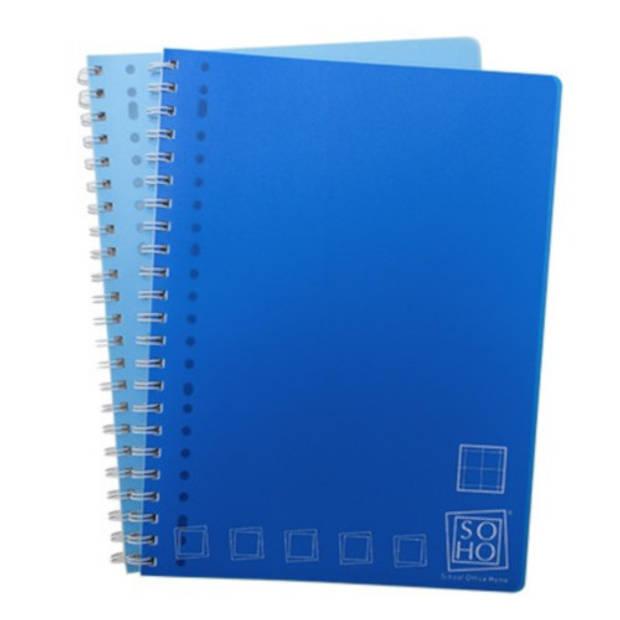 Soho collegeblok ruiten A4 23-rings blauw/donkerblauw 2 stuks