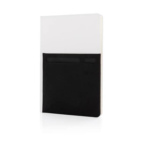 XD Collection notitieboek met opbergvakken A5 PU/papier wit/zwart