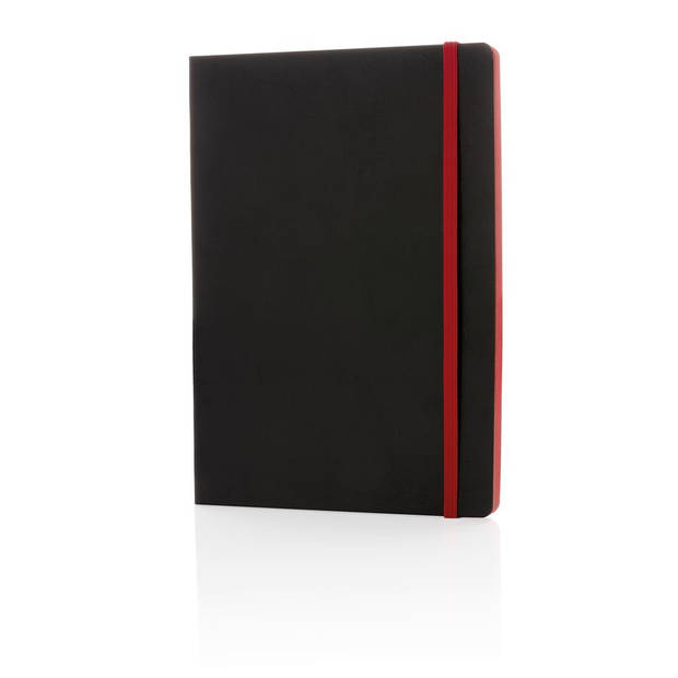 XD Collection notitieboek soft cover A5 PU/papier zwart/rood