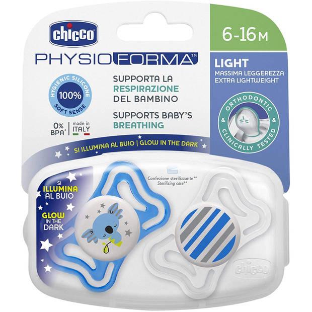 Chicco fopspeen koala/streep Physio Light blauw/wit 2 stuks