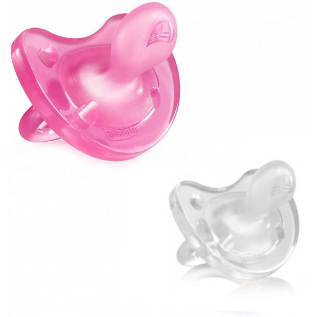 CHICCO fopspeen Physio Soft roze/transparant 6 maanden 2 stuks