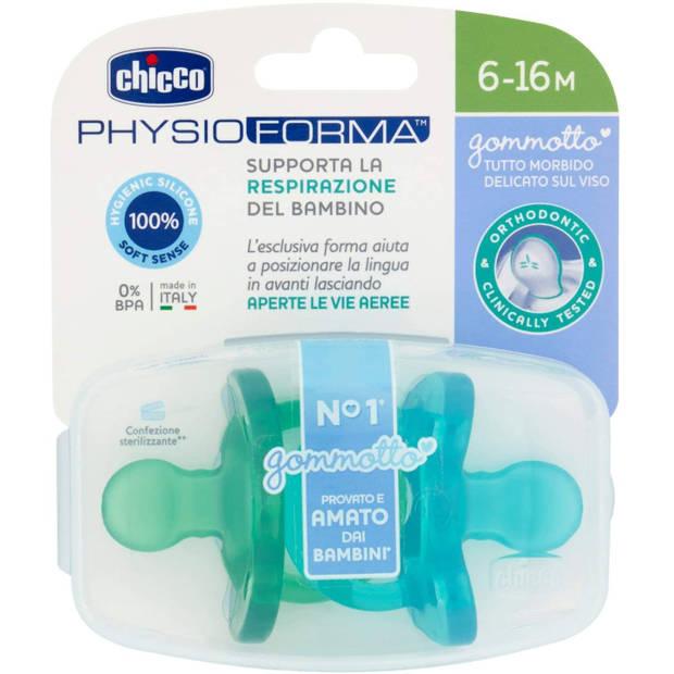 Chicco fopspeen Physio Soft blauw/groen 6 maanden 2 stuks