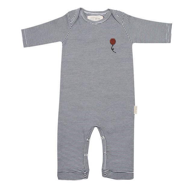 Little Indians jumpsuit Stripe junior katoen grijs/zwart mt 80