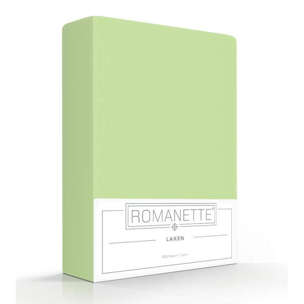 Elegance Romanette Hoeslaken Katoen - misty green 160x200cm