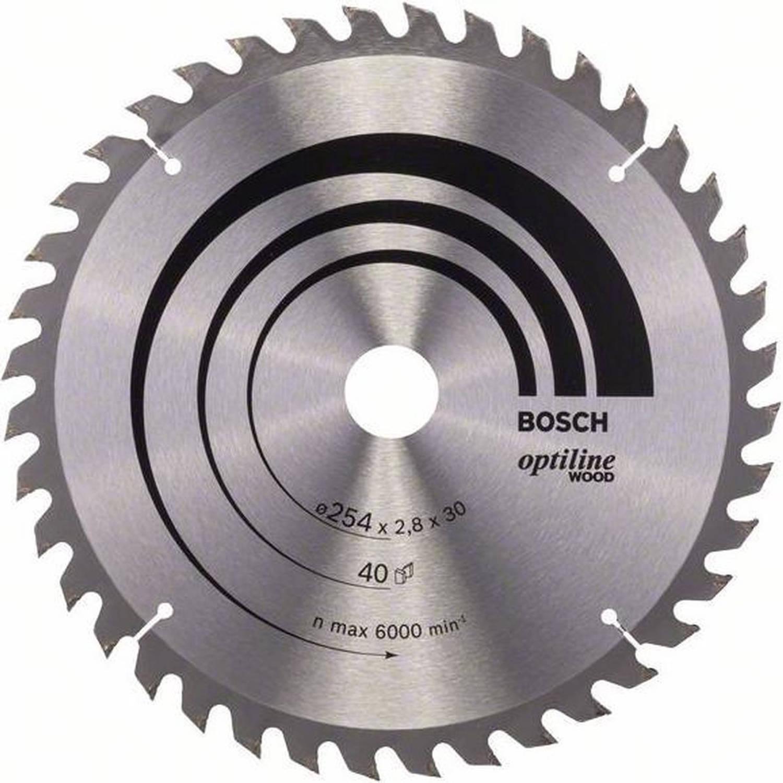Bosch Cirkelzaagblad Optiline Wood 254 X 30 X 28 Mm 40 Tanden Geschikt Voor Alle Merken