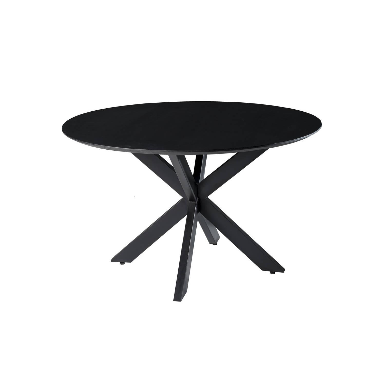 Korting Livingfurn Eettafel Oslo Black Round Acasia 130 Cm
