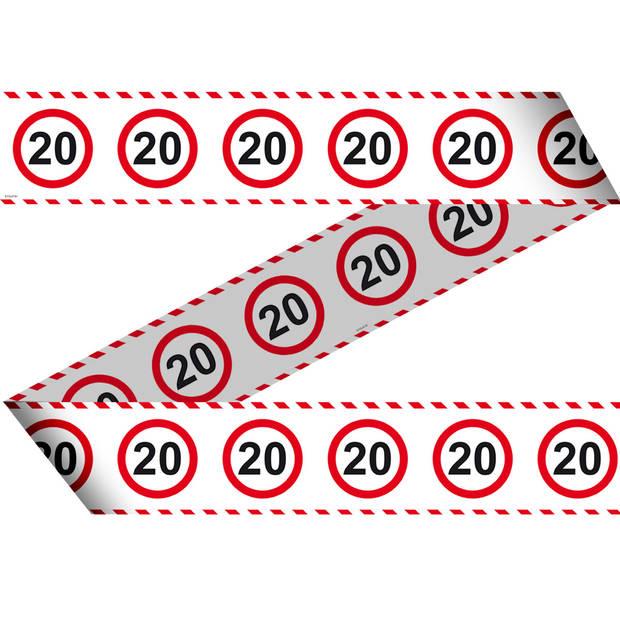 Folat afzetlint 20 Jaar verkeersbord 15 meter wit/rood
