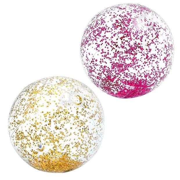 Intex Strandbal Glitter Roze en Goud 2 stuks