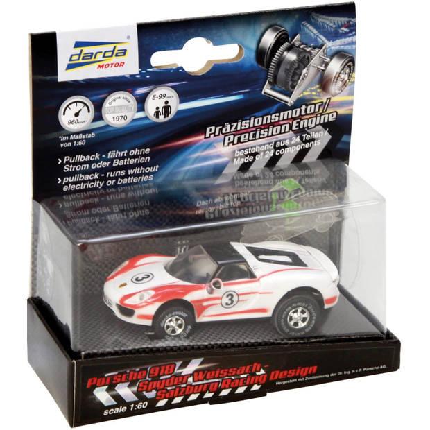 Darda speelgoedauto Porsche 918 Spyder pull-back 1:60 wit