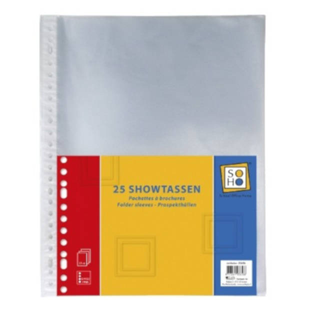Soho showtassen 23-rings A4 transparant 25 stuks