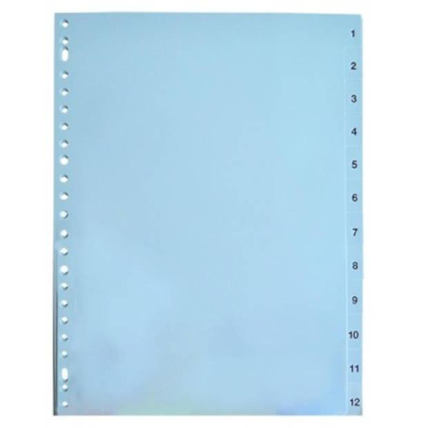 Soho tabbladen 1 t/m 12 PP 23-rings A4 grijs 12 stuks