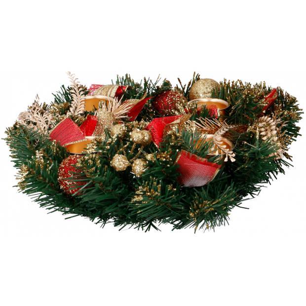 Christmas Gifts kerstkaarshouder Dennenappels 30 cm textiel groen