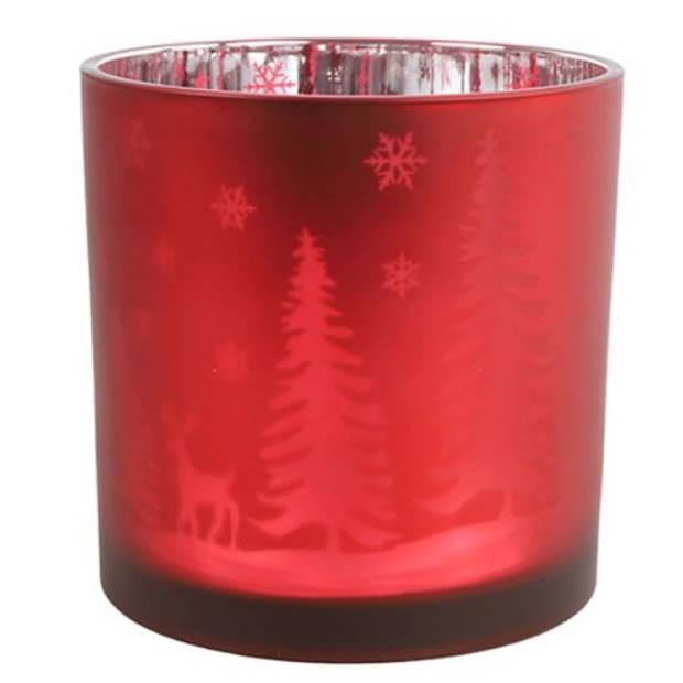 Countryfield theelichthouder Dottie 15 cm glas rood/zilver