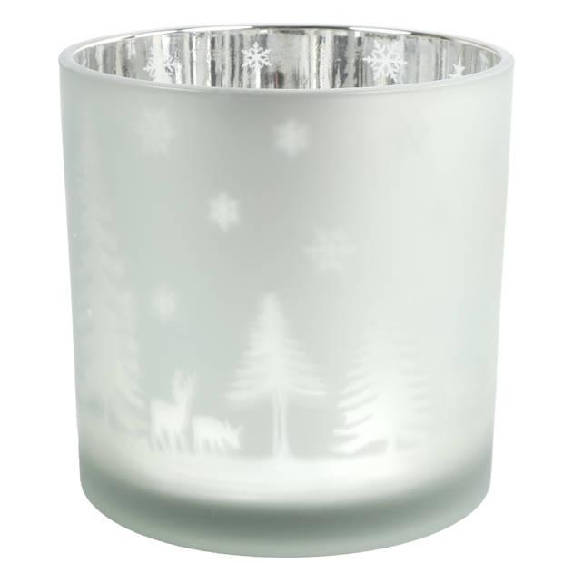 Countryfield theelichthouder Dottie 15 cm glas zilver