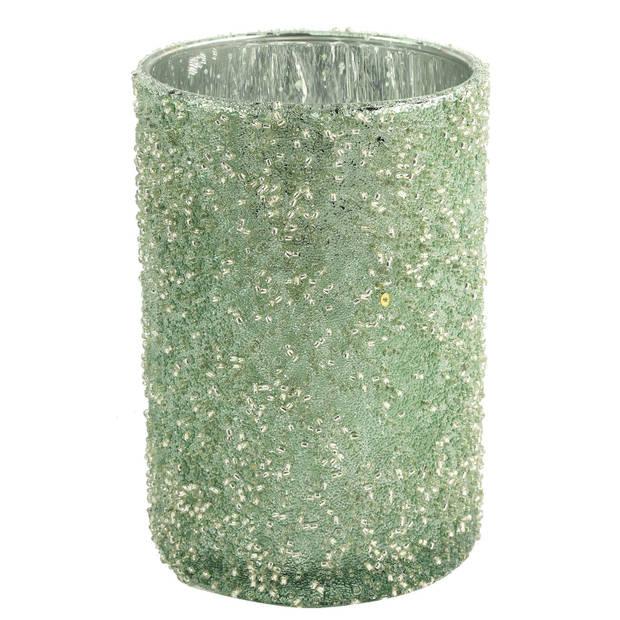 Countryfield theelichthouder Wira 8 x 12 cm glas groen