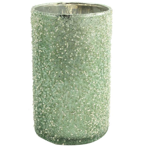Countryfield theelichthouder Wira 9 x 15 cm glas groen