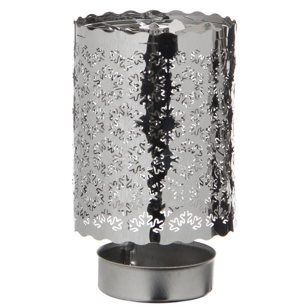 House of Seasons theelicht houder sneeuwvlok 7 cm staal zilver