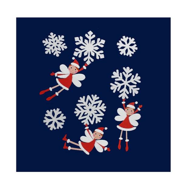 Peha stickers kerstengel met glitter 28,5 x 34,5 cm rood/wit