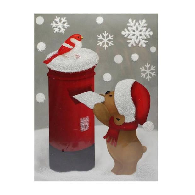 Peha sticker beertje met glitter 29,5 x 40 cm rood/wit/bruin