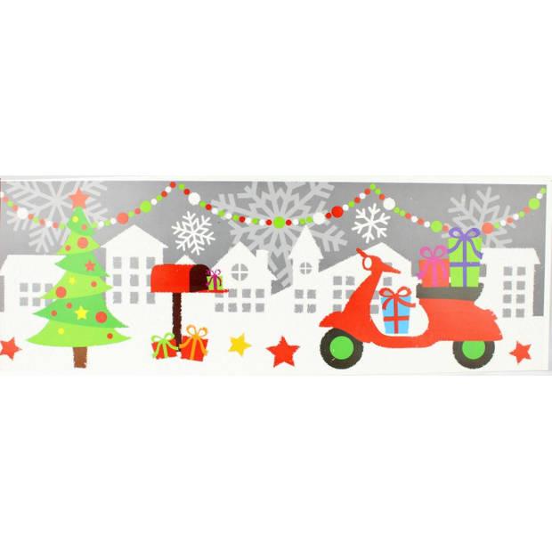 Peha sticker kerst scooter 17,2 x 49 cm grijs/groen/rood