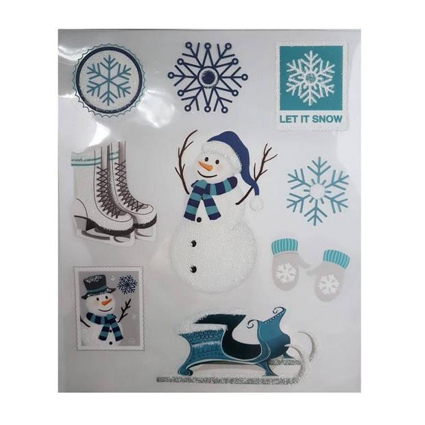 Peha stickervel kerst 28,5 x 34,5 cm blauw/wit 9-delig