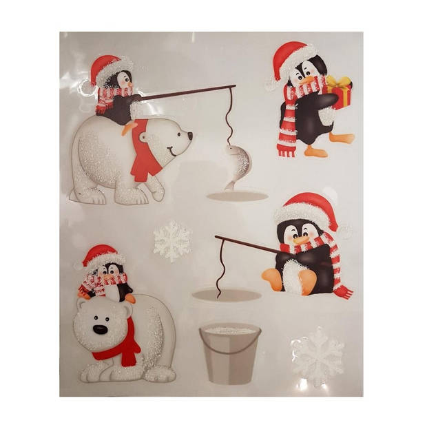 Peha stickervel kerst pinguins 28,5 x 34,5 cm wit/rood