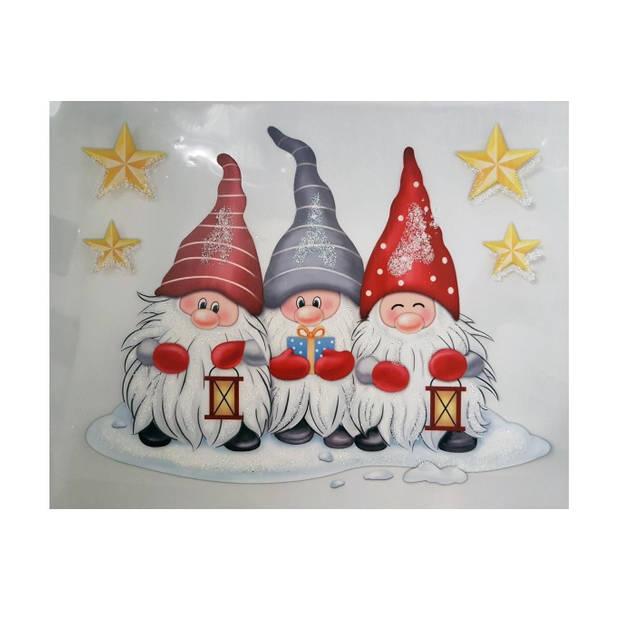 Peha sticker kerstkabouters 28,5 x 34,5 cm rood/wit/grijs